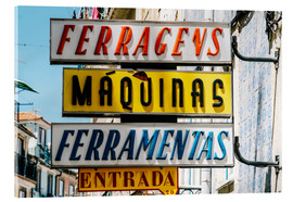 Acrylic print  Colorful Vintage Store Signs In Lisbon - Radu Bercan