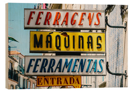 Wood print  Colorful Vintage Store Signs In Lisbon - Radu Bercan