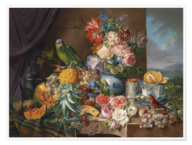 Premium poster  Still life with fruits flowers and parrot - Joseph Schuster