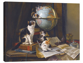 Canvas print  A cat with a globe - Henriette Ronner-Knip