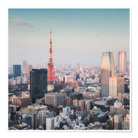 Premium poster Tokyo tower and skyline at sunrise, Japan