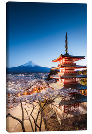 Canvas print  Chureito pagoda and Mt. Fuji at night, Japan - Matteo Colombo