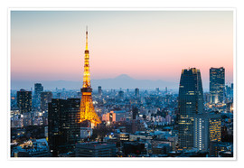 Premium poster Tokyo tower and skyline with Mt. Fuji, Tokyo