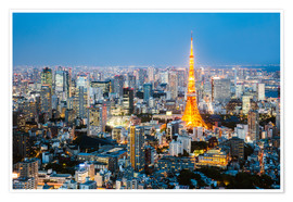 Premium poster Tokyo tower and skyline at night