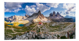Foam board print  Panorama of Refuge Antonio Locatelli, South Tyrol - Dieter Meyrl