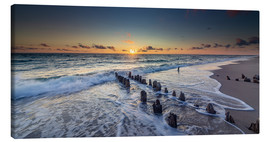 Canvas print  Groynes in the sunset - Heiko Mundel