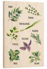 Wood print  Herbs (German)