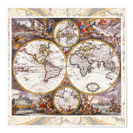 Premium poster World map with the four elements (around 1700)