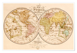 Premium poster World map around 1844