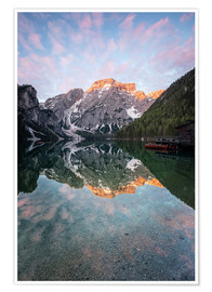 Premium poster Braies lake fantastic sunrise