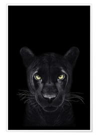 Premium poster  Black Panther on a black ground II - Valeriya Korenkova