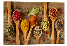 Acrylic print  Colorful spices in wooden spoons - Elena Schweitzer