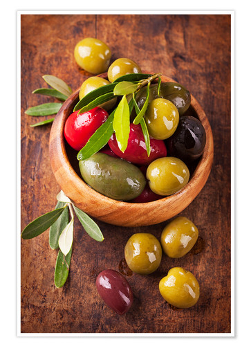 Premium poster Bowl with olives on a wooden table
