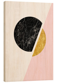 Wood print  Scandinavian composition with marble and gold - Radu Bercan