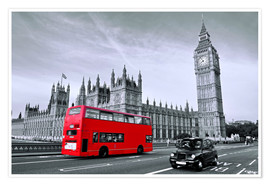 Premium poster  Red bus on Westminster Bridge, London - Art Couture