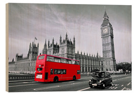 Wood  Red bus on Westminster Bridge, London - Art Couture
