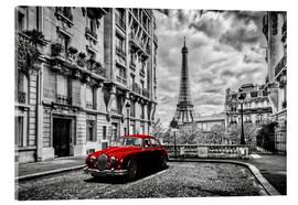 Acrylic print  Paris in black and white with red car - Art Couture