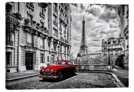 Canvas  Paris in black and white with red car - Art Couture