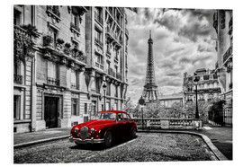 Foam board print  Paris in black and white with red car - Art Couture