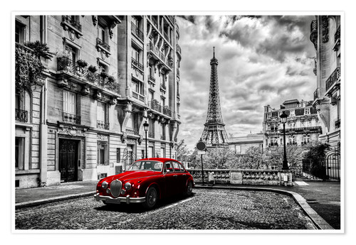 Premium poster Paris in black and white with red car