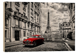 Wood print  Paris in black and white with red car - Art Couture