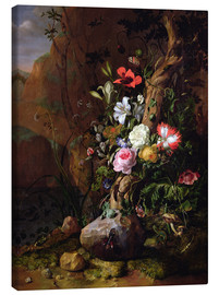 Canvas print  Tree trunk surrounded by flowers, butterflies and animals - Rachel Ruysch