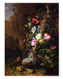 Premium poster  Tree trunk surrounded by flowers, butterflies and animals - Rachel Ruysch